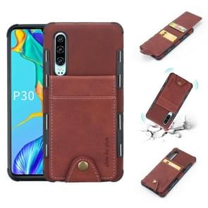 For Huawei P30 Cloth Texture + TPU Shockproof Protective Case with Vertical Flip Card Slots(Brown)