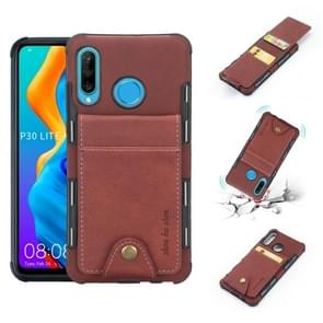 For Huawei P30 Lite Cloth Texture + TPU Shockproof Protective Case with Vertical Flip Card Slots(Brown)