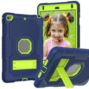 Contrast Color Robot Shockproof Siliconen + PC Beschermhoes met houder voor iPad mini 5 & 4 (Navy Blue Yellow Green)