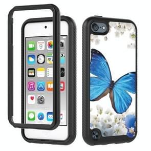 3 in 1 card PC + TPU Shockproof Beschermhoes voor iPod touch 5 / 6 / 7 (Blauwe Vlinder)