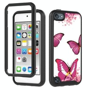 3 in 1 card PC + TPU Shockproof Beschermhoes voor iPod touch 5 / 6 / 7 (Rose Red Butterfly)