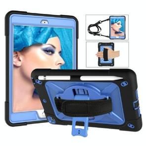 Contrast kleur siliconen + PC Combinatie case met houder voor iPad mini 3 (Zwart + Blauw)