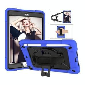Contrast kleur siliconen + PC Combinatie case met houder voor iPad mini 3 (Donkerblauw + Zwart)
