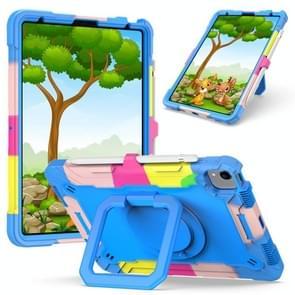 Contrast Color Shockproof Robot Siliconen + PC Case met polsbandhouder voor iPad Air (2020) 10.9 (Camouflage + Blauw)
