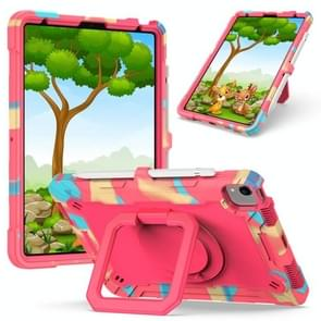 Contrast Color Shockproof Robot Siliconen + PC Case met polsbandhouder voor iPad Air (2020) 10.9 (Camouflage + Rose Red)