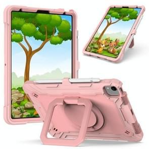 Contrast Color Shockproof Robot Siliconen + PC Case met polsbandhouder voor iPad Air (2020) 10.9 (Rose Gold)