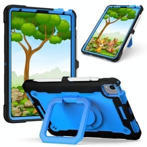 Contrast Color Shockproof Robot Siliconen + PC Case met polsbandhouder voor iPad Air (2020) 10.9 (Zwart + Blauw)