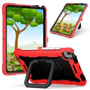 Contrast Color Shockproof Robot Siliconen + PC Case met polsbandhouder voor iPad Air (2020) 10.9(Rood + Zwart)