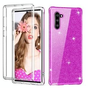 Voor Galaxy Note 10 schokbestendige PC + TPU terug beschermende case + front huisdier Screen Protector (purple glitter)