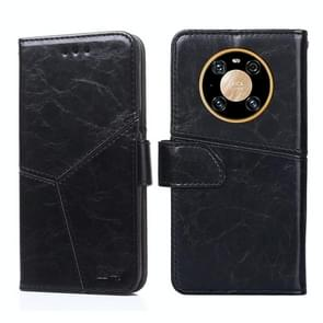 Voor Huawei Mate 40 Geometrische stiksels horizontale flip TPU + PU lederen hoes met houder & kaartslots & portemonnee(zwart)