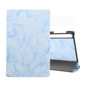 For Galaxy Tab S6 10.5 T860 Marble Texture Pattern Horizontal Flip Leather Case, with Three-folding Holder & Sleep / Wake-up Function(Blue)