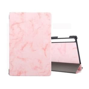 For Galaxy Tab S6 10.5 T860 Marble Texture Pattern Horizontal Flip Leather Case, with Three-folding Holder & Sleep / Wake-up Function(Pink)