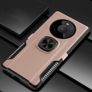 Voor Huawei Mate 40 Pro Litchi Texture Knight Armor Shockproof PC + Siliconen behuizing met 360 graden rotatie magnetische ringhouder(goud)