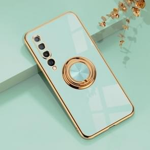 Voor Xiaomi Mi 10 6D Electroplating Full Coverage Siliconen Protective Case met Magnetic Ring Holder (Light Cyan)