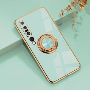 Voor Xiaomi Mi 10 Pro 6D Electroplating Volledige dekking Siliconen Beschermhoes met magnetische ringhouder (Licht cyaan)