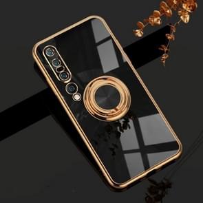Voor Xiaomi Mi 10 Pro 6D Electroplating Volledige dekking Siliconen Beschermhoes met magnetische ringhouder(Zwart)