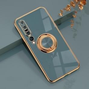 Voor Xiaomi Mi 10 Pro 6D Galvaniseren Volledige Dekking Siliconen Beschermhoes met Magnetische Ringhouder (Grijs)