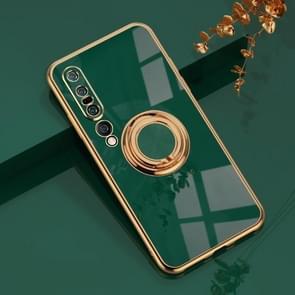 Voor Xiaomi Mi 10 Pro 6D Electroplating Volledige dekking Siliconen Beschermhoes met magnetische ringhouder (donkergroen)