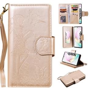 Voor Galaxy Note 10 plus vrouw en kat reliëf horizontale Flip leergeval, met portemonnee & houder & kaartsleuven & fotolijstjes & spiegel & Lanyard (goud)