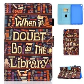 For Galaxy Tab A 8.0 2019 / T290 Colored Drawing Stitching Horizontal Flip Leather Case, with Holder & Card Slots(Library)