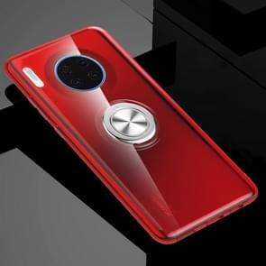 Voor Huawei mate 30 schokbestendige transparante TPU beschermhoes met metalen ring houder (transparant rood)