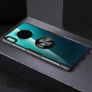 Voor Huawei mate 30 schokbestendige TPU + acryl beschermhoes met metalen ring houder (zwart)