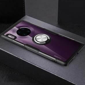 Voor Huawei mate 30 Pro shock proof TPU + acryl beschermende case met metalen ring houder (zilver zwart)