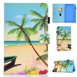 For Galaxy Tab A 8.0 2019 / T290 Colored Drawing Stitching Horizontal Flip Leather Case, with Holder & Card Slots(Sandbeach)