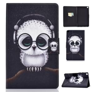 For Galaxy Tab A 8.0 2019 / T290 Colored Drawing Electric Pressed Horizontal Flip Leather Case, with Holder & Card Slots(White Owl)
