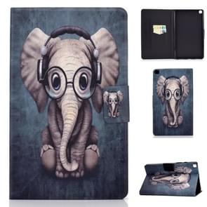 For Galaxy Tab A 8.0 2019 / T290 Colored Drawing Electric Pressed Horizontal Flip Leather Case, with Holder & Card Slots(Elephant)