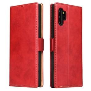 Voor Galaxy Note10 + dermis textuur PU + TPU horizontale Flip lederen draagtas met houder & kaartsleuven & portemonnee (rood)