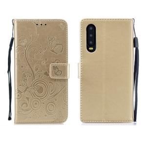 Voor Huawei P30 vlinders liefde bloemen patroon horizontale Flip lederen draagtas met houder & kaartsleuven & portemonnee & Lanyard (goud)