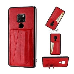 For Huawei Mate 20 Shockproof PC + PU Protective Case with Spring Holder & Card Slot(Red)