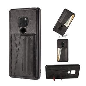 For Huawei Mate 20 Shockproof PC + PU Protective Case with Spring Holder & Card Slot(Black)