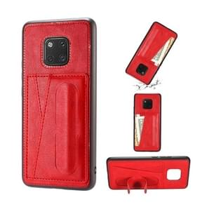For Huawei Mate 20 Pro Shockproof PC + PU Protective Case with Spring Holder & Card Slot(Red)
