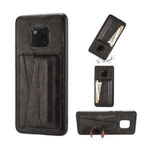 For Huawei Mate 20 Pro Shockproof PC + PU Protective Case with Spring Holder & Card Slot(Black)