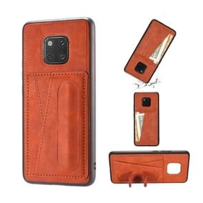 For Huawei Mate 20 Pro Shockproof PC + PU Protective Case with Spring Holder & Card Slot(Brown)