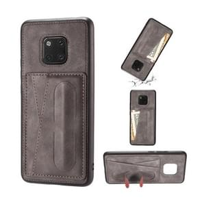For Huawei Mate 20 Pro Shockproof PC + PU Protective Case with Spring Holder & Card Slot(Grey)