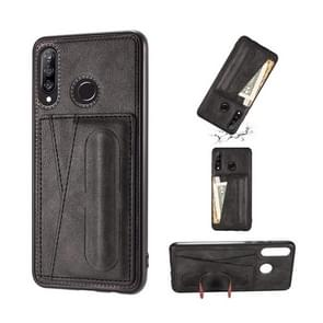For Huawei P30 Lite Shockproof PC + PU Protective Case with Spring Holder & Card Slot(Black)