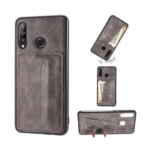 For Huawei P30 Lite Shockproof PC + PU Protective Case with Spring Holder & Card Slot(Grey)