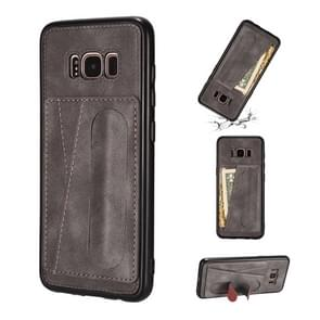 For Galaxy S8 Shockproof PC + PU Protective Case with Spring Holder & Card Slot(Grey)