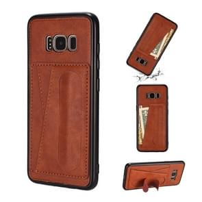 For Galaxy S8 Shockproof PC + PU Protective Case with Spring Holder & Card Slot(Brown)
