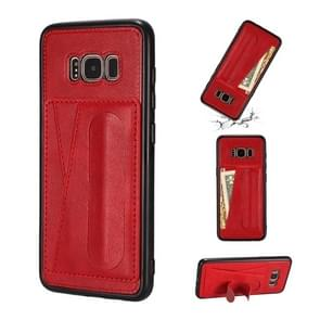 For Galaxy S8 Shockproof PC + PU Protective Case with Spring Holder & Card Slot(Red)