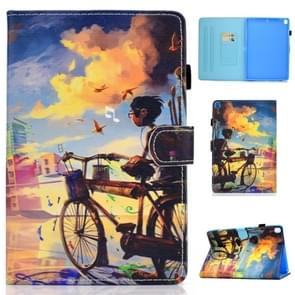 For iPad 10.2 inch Colored Drawing Horizontal Flip Leather Case with Holder & Card Slots & Sleep / Wake-up Function(Cycling Boy)