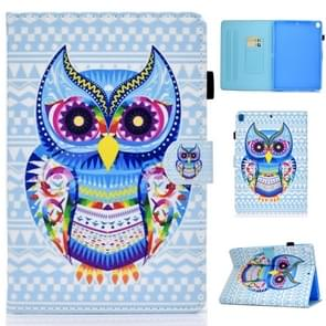 For iPad 10.2 inch Colored Drawing Horizontal Flip Leather Case with Holder & Card Slots & Sleep / Wake-up Function(Colored Owl)