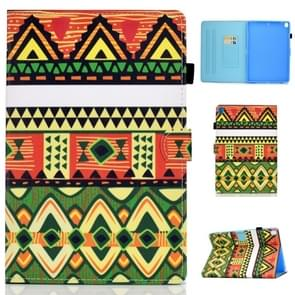 For iPad 10.2 inch Colored Drawing Horizontal Flip Leather Case with Holder & Card Slots & Sleep / Wake-up Function(Folk-custom)