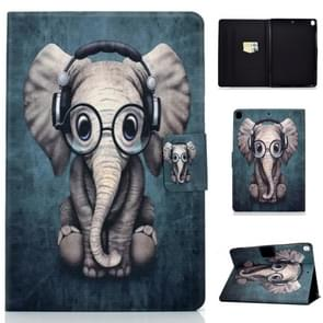 For iPad 10.2 inch Colored Drawing Horizontal Flip Leather Case with Holder & Card Slots & Sleep / Wake-up Function(Elephant)