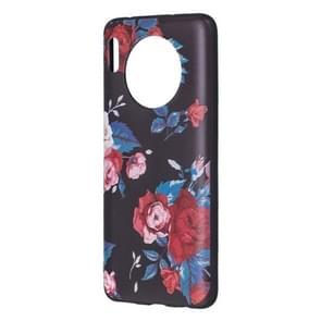 Voor Huawei mate 30 reliëf geschilderd patroon TPU case (rode bloem)