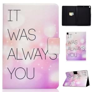 For iPad 10.2 inch Colored Drawing Horizontal Flip Leather Case with Holder & Card Slots & Sleep / Wake-up Function(Pink English Letter)