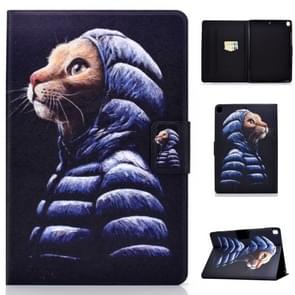 Voor iPad 10 2 inch gekleurde tekening horizontale Flip lederen draagtas met houder & kaartsleuven & slaap/Wake-up functie (kleine gele kat)